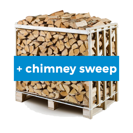 1m3 Pallet of Ash firewood with Chimney Sweep