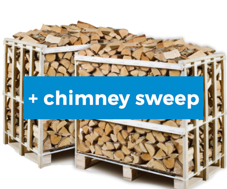 2 x 1m3 Pallet of Ash firewood with Chimney Sweep